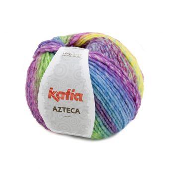 Pelote de fil à tricoter Katia Azteca orange fuschia vert bleu
