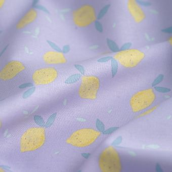 Tissu popeline coton bio citrons mauve