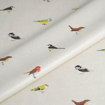 Tissu enduit épais oiseaux multicolores
