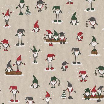Tissu de Noël coton épais elfes mutlciolores