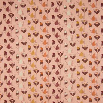 Tissu jersey de coton rose motifs renards