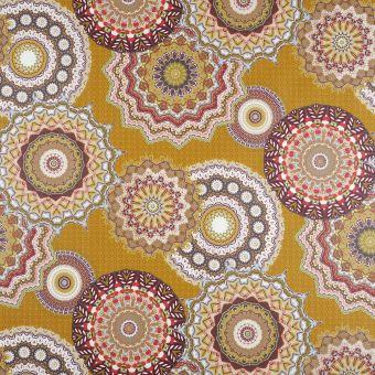 Tissu coton enduit Mandala moutarde