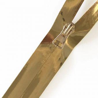 Fermeture à glissière étanche métallisé doré au mètre