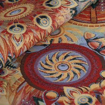 Tissu jacquard gobelin fleurs et soleil multicolores