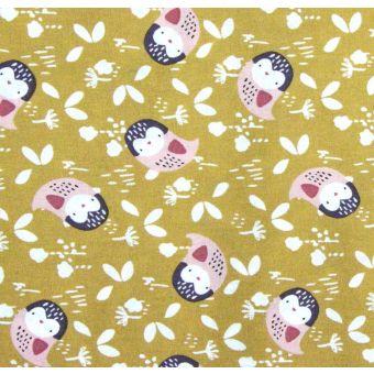 Cretonne coton à motifs hiboux kidia moutarde