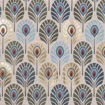 Tissu coton épais plumes de paon bleu