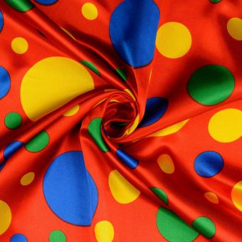 Tissu satin carnaval à pois rouge