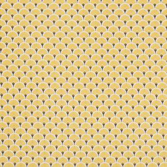 Tissu coton imprimé japonais éventails jaune