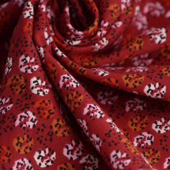 Tissu jersey coton rouge pois
