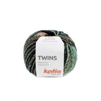 Pelote de fil à tricoter Katia Twins turquoise jaune corail