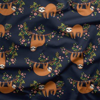 Tissu double gaze bio paresseux - Panda Love