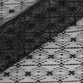 Tissu résille fleuri noir