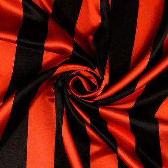 Tissu satin rayé rouge et noir