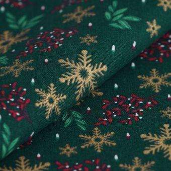 Tissu de Noël coton épais flocons dorés