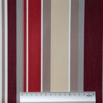 Tissu toile Dralon outdoor double enduction rayé bordeaux gris