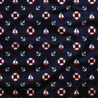 Tissu PUL pour les couches lavables bouées bleu - La Panda Love Fabrics