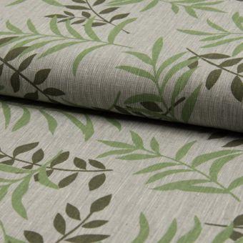 Toile lin coton taupe à motifs feuillage vert