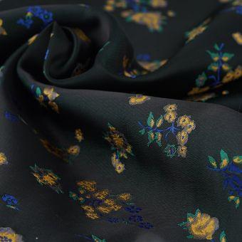 Tissu jacquard noir fleurs