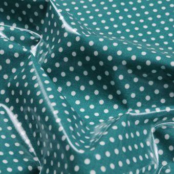 Tissu coton épais enduit brillant pois céladon