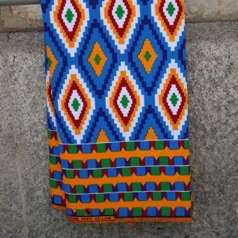 Tissu Kenté motifs losange bleu