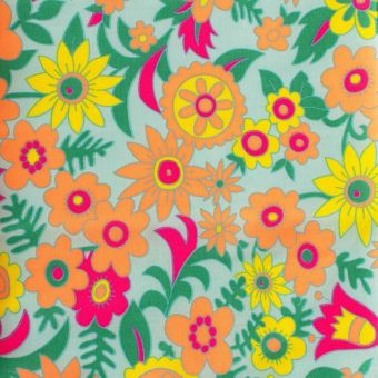 """Popeline de coton Petit Pan motif """"Hippie"""" azur"""