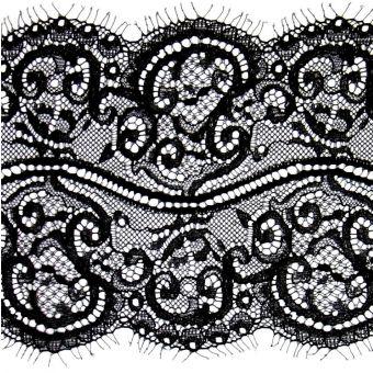 Large ruban dentelle de Calais noir polyamide polyester ajouré fleuri 140mm