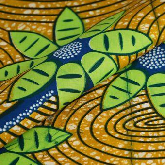 Tissu wax fleurs vertes