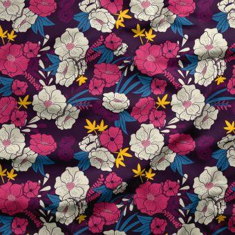 Tissu PUL pour les couches lavables fleurs tropicale multicolore - La Panda Love Fabrics