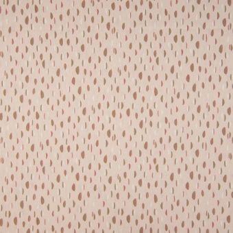 Tissu popeline coton bio à motifs pastilles rose