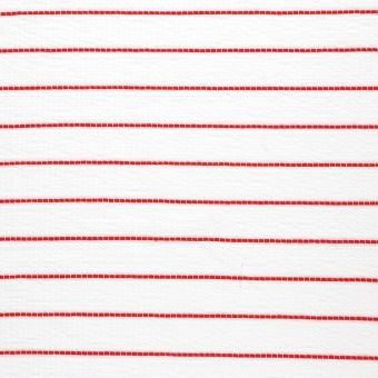 Tissu jersey polyester blanc à rayures rouges