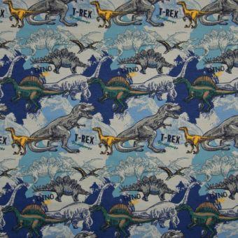 Tissu jersey à motifs dinosaures bleu