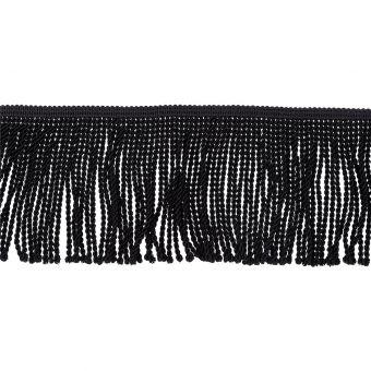 Galon à frange torsé noir 10 cm