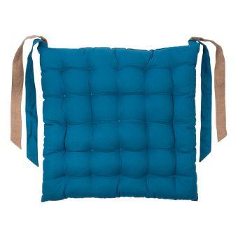 Galette de chaise Essentiel bleu pétrole