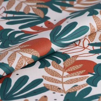Tissu coton enduit blanc feuilles