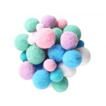Pompons pastel 1 à 2,2cm assortiment 120 pièces