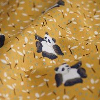 Tissu cretonne jaune Tao pandas