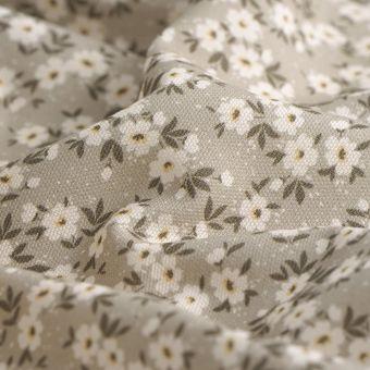 Tissu coton épais fleurs Daisy gris