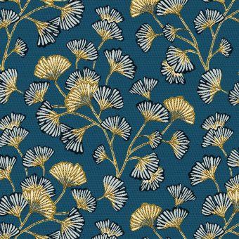 Tissu jacquard polyester bleu à motifs ginkgo biloba or