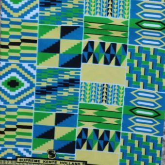 Tissu Kente bleu et vert - Karabashop