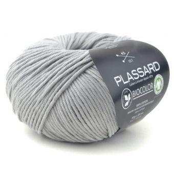 Pelote de coton à tricoter Biocolor gris clair - Plassard