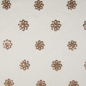Tissu écru à fleurs en sequins bruns
