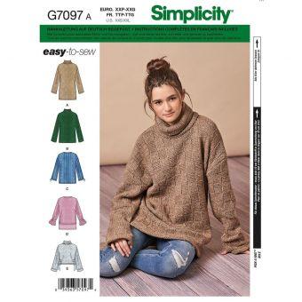 Patron Simplicity 8738 robe ou pull pour femme 32 à 54
