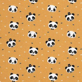 Tissu coton panda curry