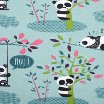 Tissu jersey imprimé pandas turquoise