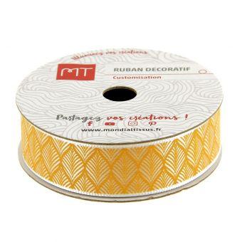 Bobine ruban satin jaune motif palme 16 mm