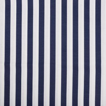 Tissu coton large rayures bleu marine