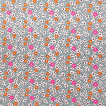 Tissu Petit Pan popeline de coton gris à motifs fleurs des îles