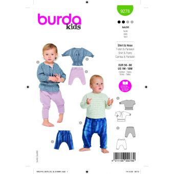 Patron Burda 9278 t-shirt + pantalon de 1 à 18 mois