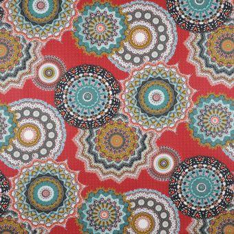 Tissu coton enduit Mandala rouge