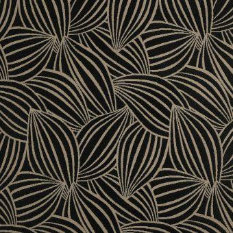 Tissu jacquard feuilles noires